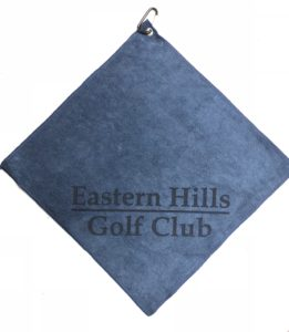 Navy blue golf towel custom laser etch logo bottom corner