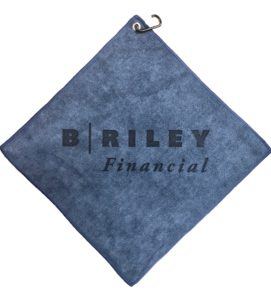 Navy blue golf towel custom laser etch logo centered