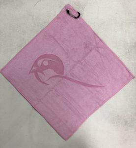 Pink golf towel custom laser etch logo