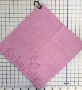 Pink golf towel custom laser etch logo edge seam