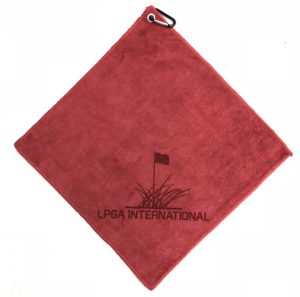 Red golf towel custom laser etch logo