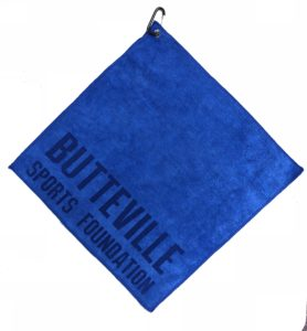 Royal blue golf towel custom laser etch logo along seam