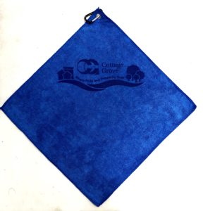 Royal Blue golf towel custom laser etch logo