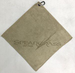 Khaki tan golf towel custom laser etch logo in bottom corner
