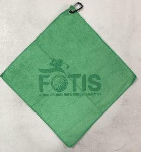 Shamrock green golf towel custom laser etch logo centered