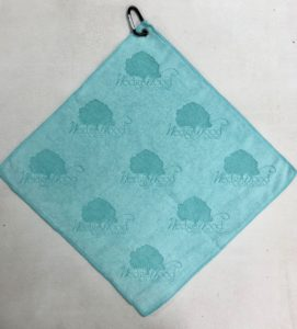 Caribbean aqua blue golf towel custom logo laser etch logo scattered