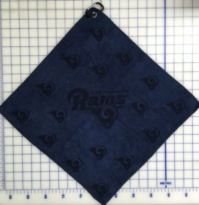 Navy blue golf towel custom laser etch scatter logo