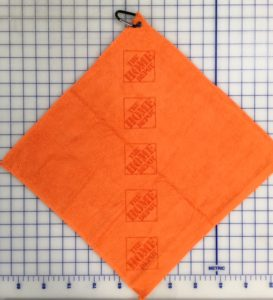 Orange golf towel custom laser etch logo
