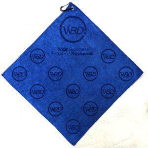 Royal blue golf towel custom laser etch scatter logo