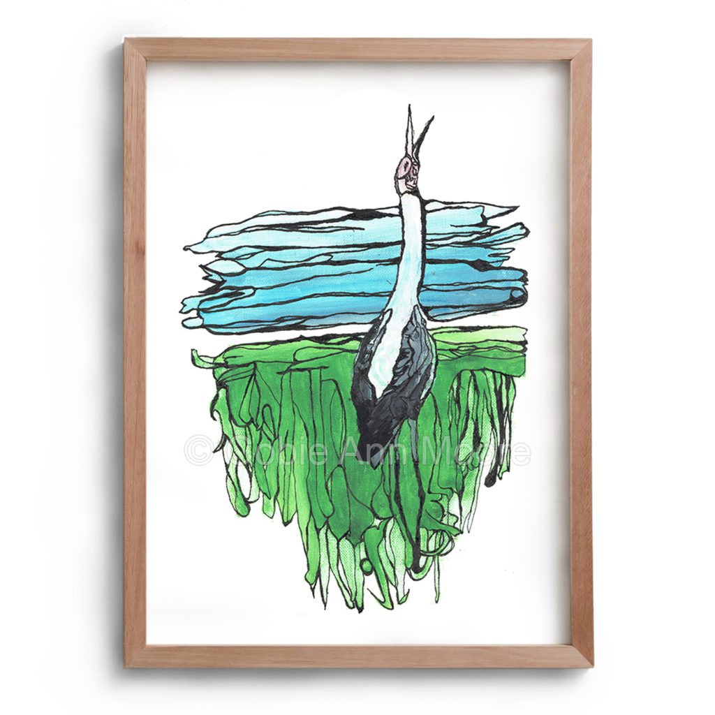 Painting by Cobie Ann Moore of a landscape and a single brolga with its head raised calling. The artwork is framed in a simple wooden frame