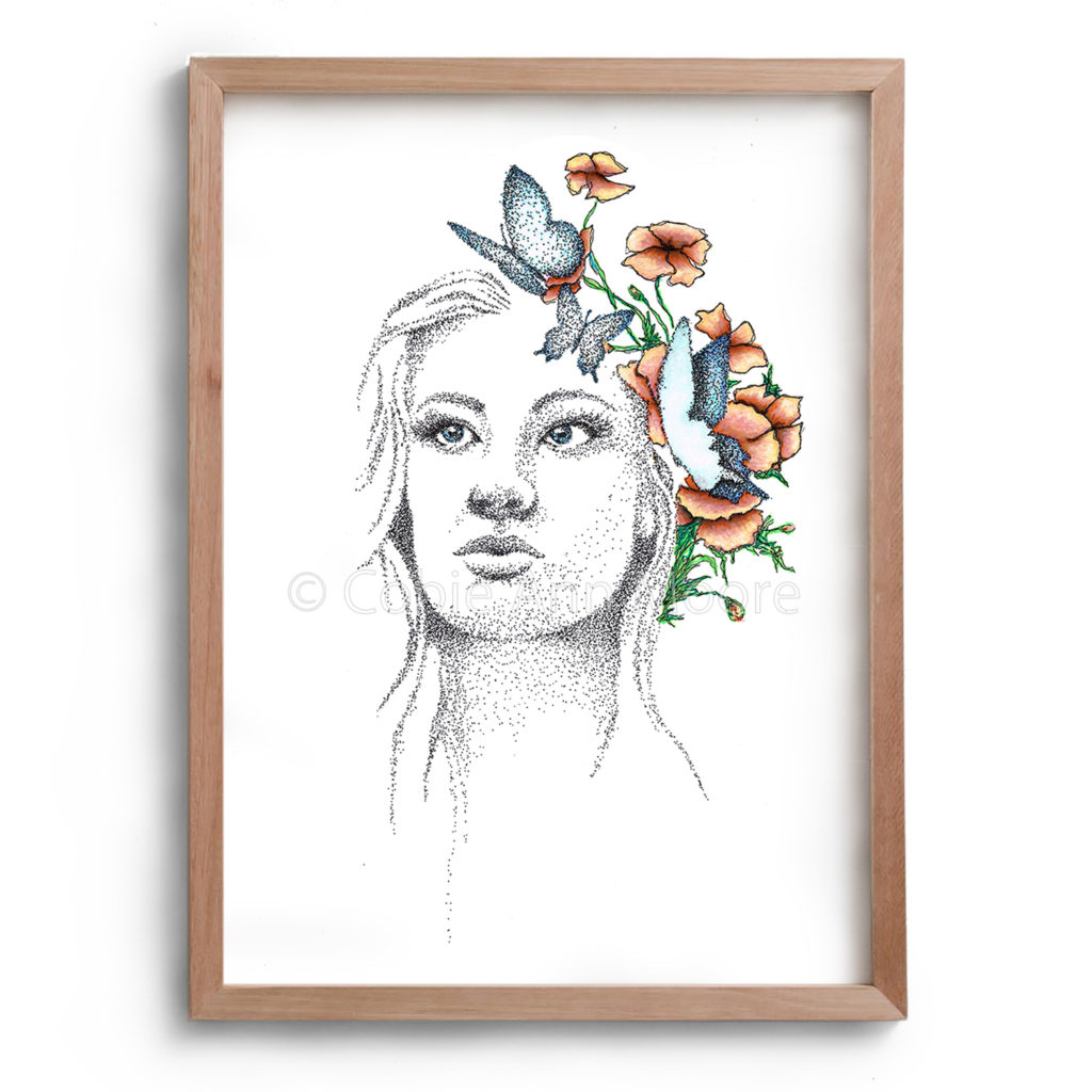Drawing by Cobie Ann Moore of a lady with pink flowers and blue butterflies in her hair. Framed in a simple wooden frame