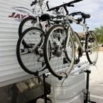 Arvika camper bike rack on Jayco 26BH Travel Trailer