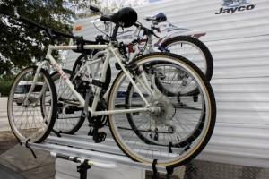 Arvika Bike Rack Mounted on Jayco Travel Trailer Shown in Post Arvika Bike Rack Review