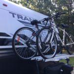 Arvika travel trailer bike rack shown on Transcend 28MKS