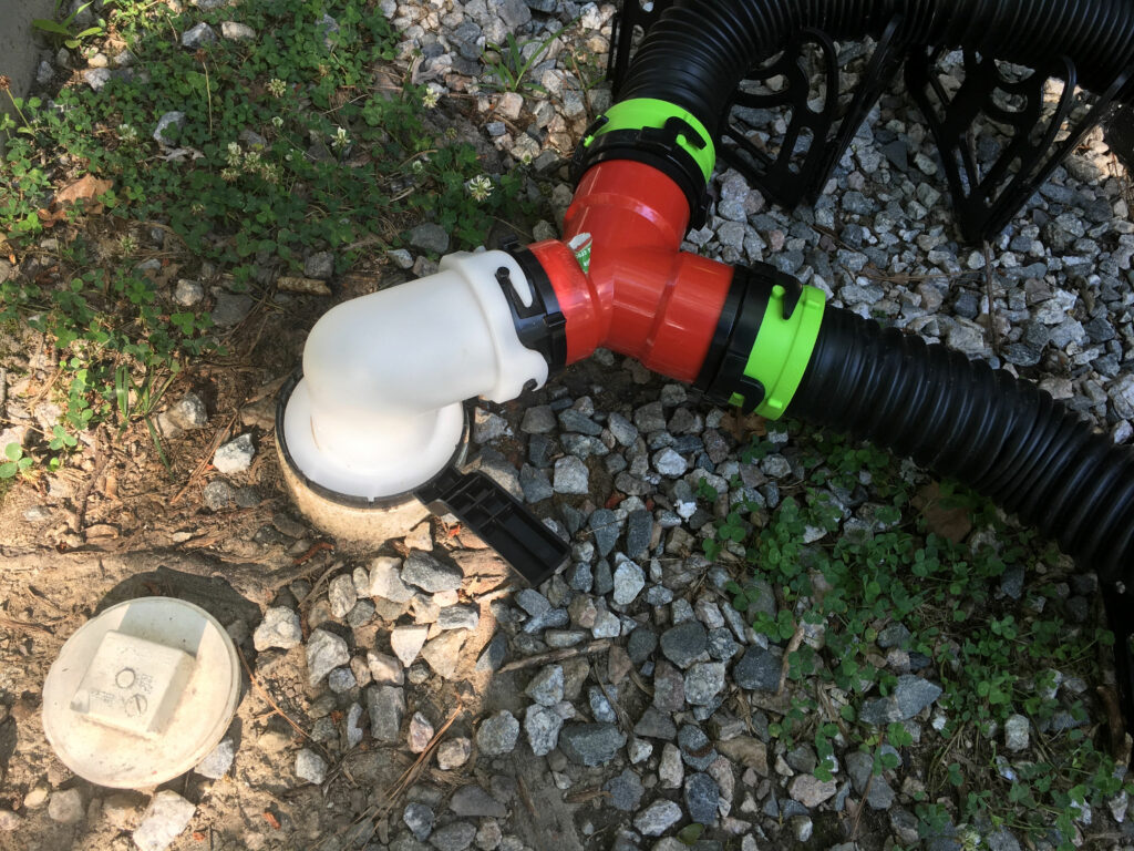 RV Sewer Hose Setup For Two Connections With Wye Adapter
