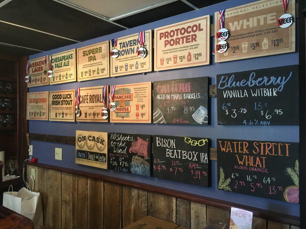 Virginia Peninsula Breweries Alewerks Menu Sign Williamsburg Craft Brewery
