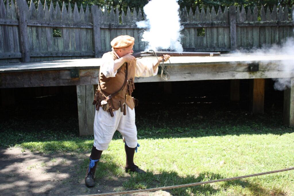 Jamestown Settlement Museum Jamestown VA Jamestown Fort Gun Firing Demonstration Arquebus