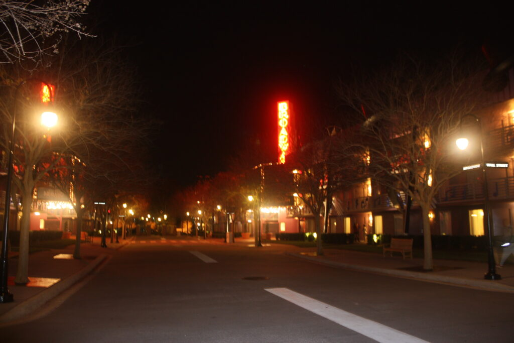 Disneys All Star Music Resort Broadway Street At Night