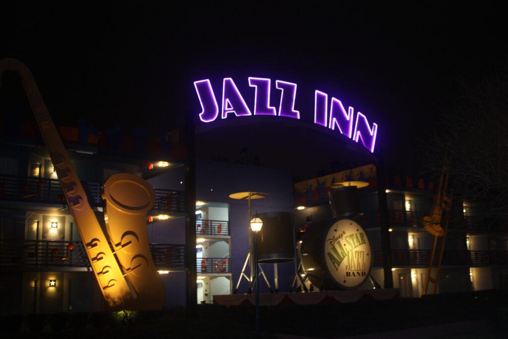 Disneys All Star Music Resort Jazz Inn At Night