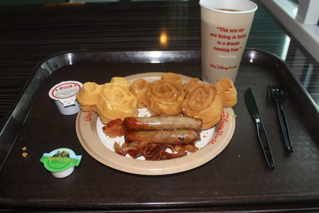 Disneys All Star Music Resort Breakfast Mickey Waffles Bacon Sausage