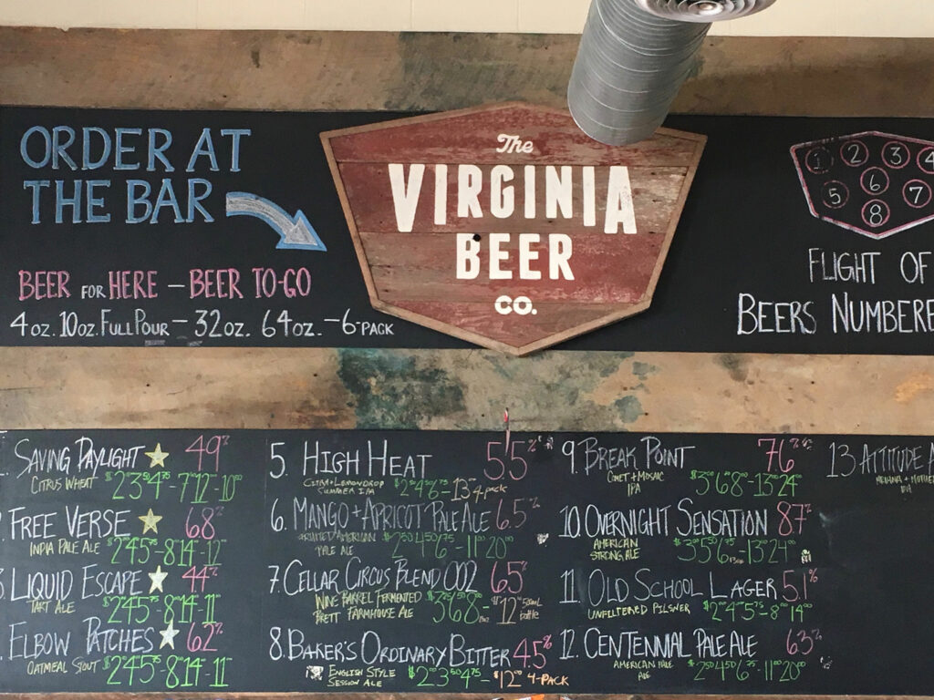 Virginia Peninsula Breweries Virginia Beer Menu Williamsburg Craft Brewery