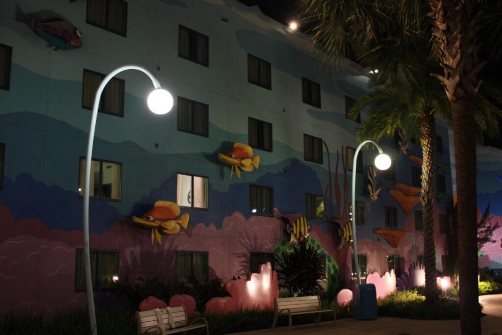 Disneys Art of Animation Resort Finding Nemo Building Night