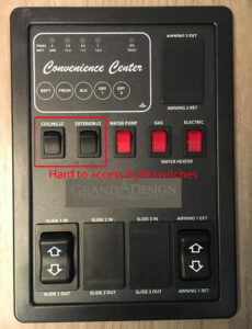 Grand Design Transcend 28MKS Light Switch Panel
