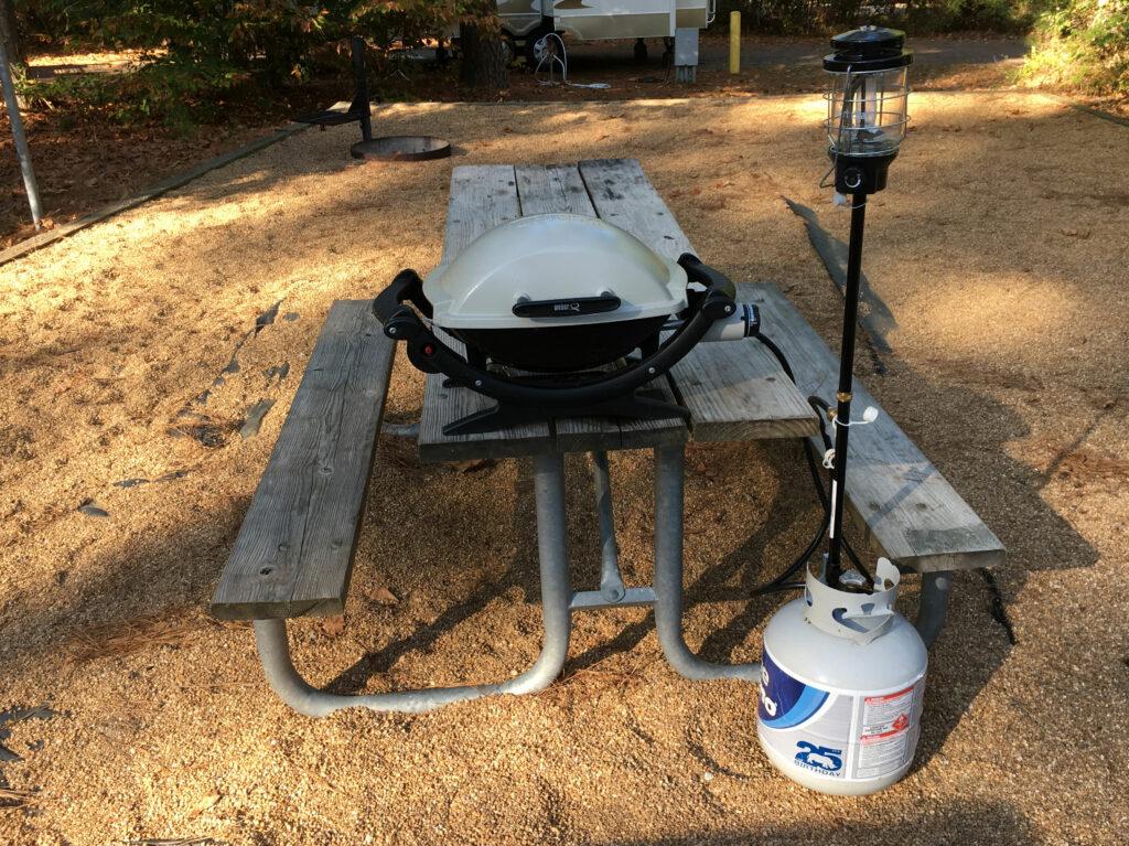 Camping Grill Setup WeberQ Small Gas Grill NorthStar Lantern Propane Tree