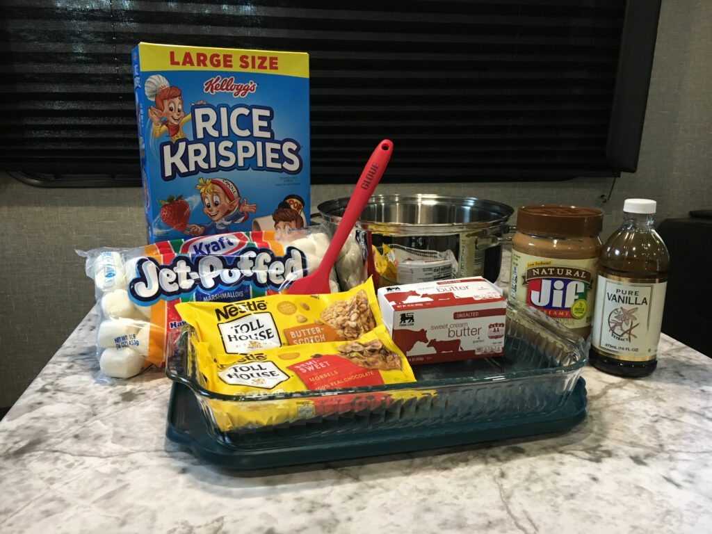 scotcheroos ingredients rice krispies marshmallows chocolate chips butterscotch chips butter peanut butter vanilla