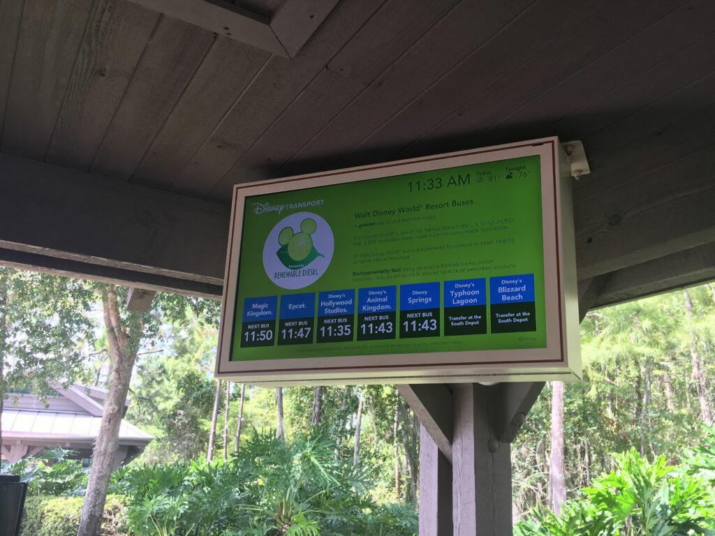 Disney Port Orleans Riverside Bus Stop Wait Times Sign