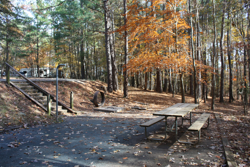 Falls Lake Rolling View Campground Sitting Area
