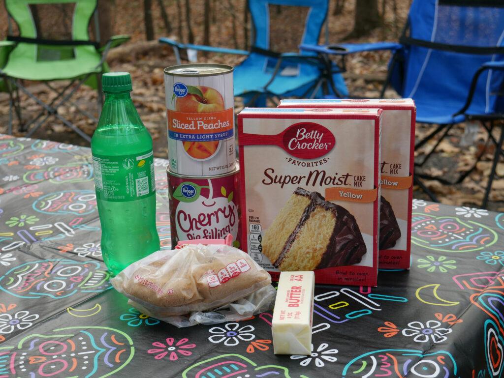 peach cherry dutch oven cobbler ingredients