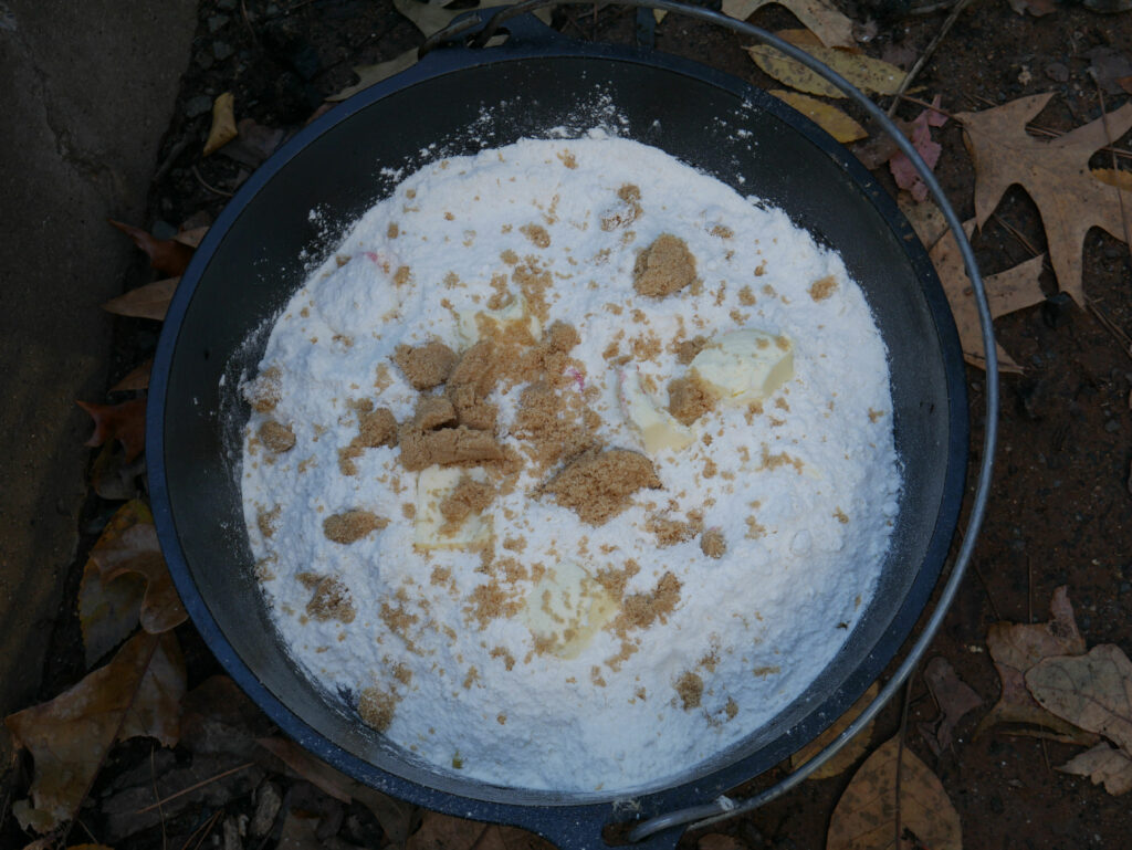 Peach Cherry Dutch Oven Cobbler Ingredients Ready For Baking