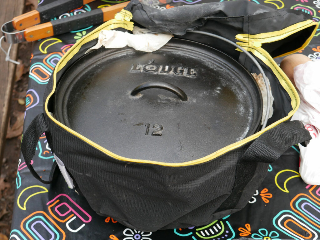 Lodge dutch oven in storage bag