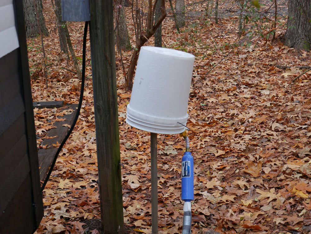 Cold Weather RV Camping Bucket Over Water Spigot