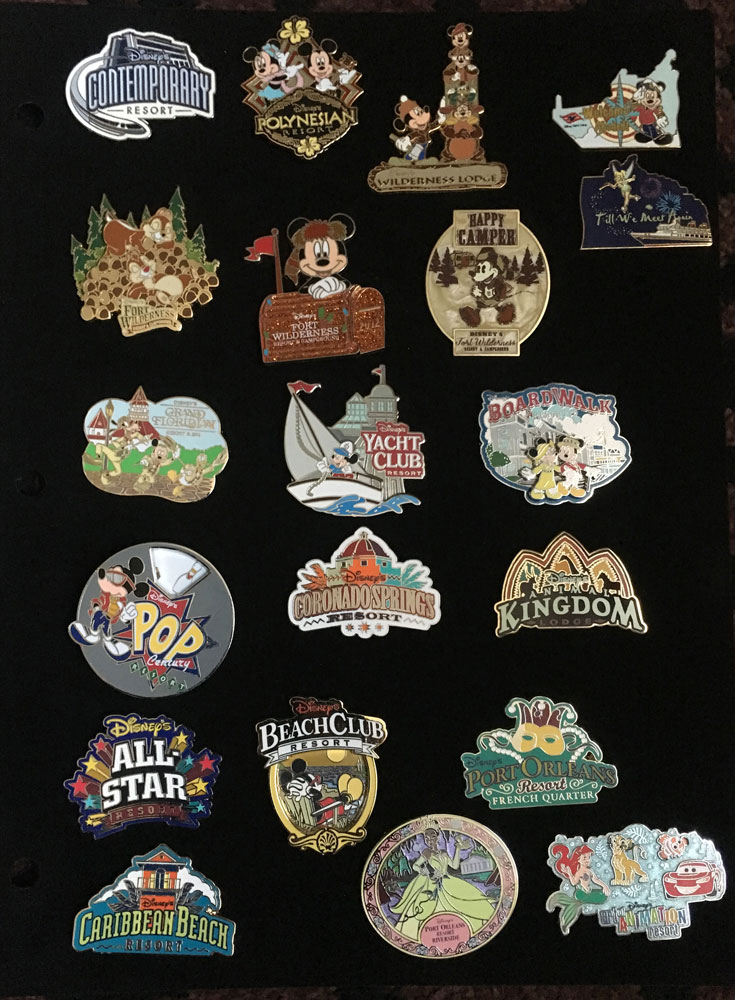 A Bucket List Souvenir Disney World Resort Pins Collection