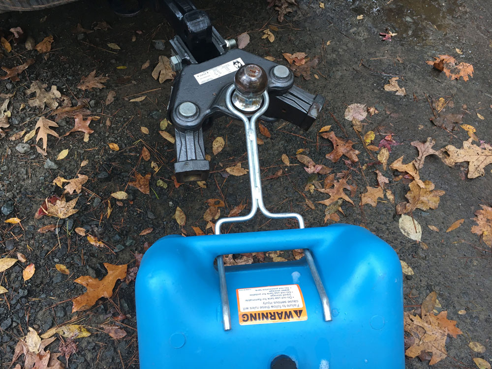 Blue RV Tote Tank Tow Bracket