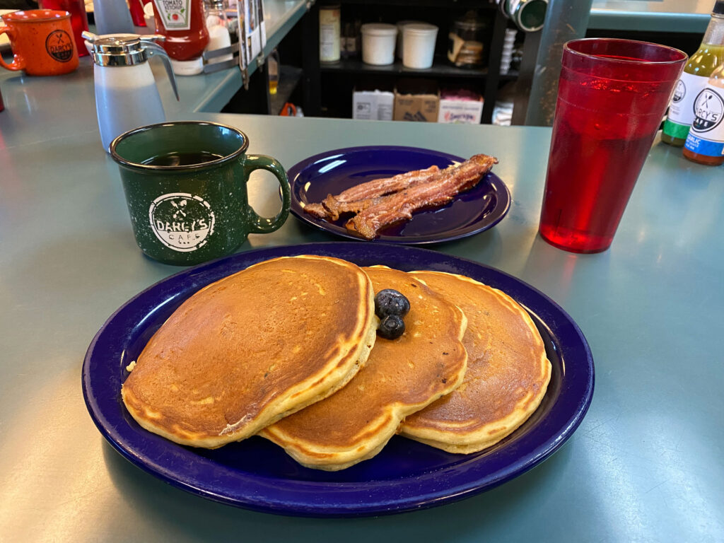 Blueberry Pancakes at Darcy's Cafe Grand Forks North Dakota