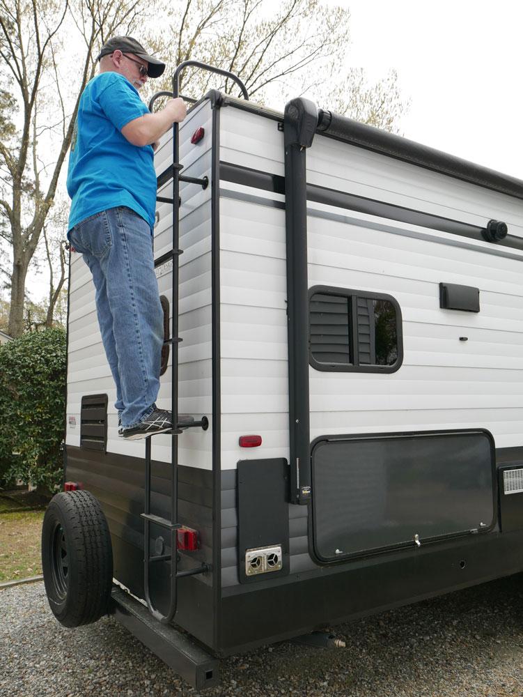 Climbing RV Ladder