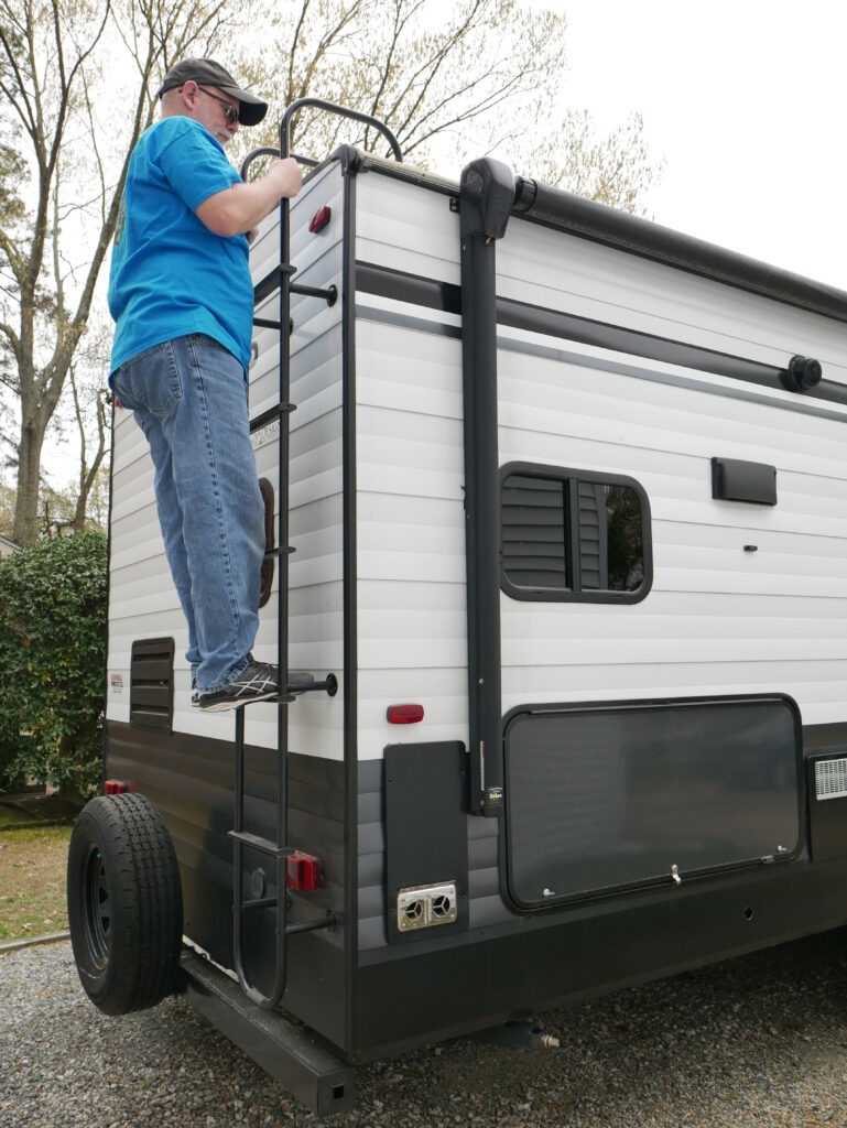 Climbing RV Ladder