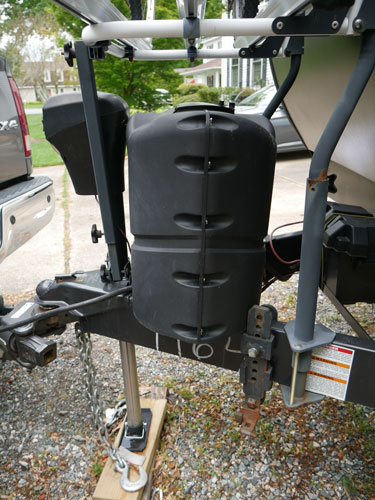 Arvika Bike Rack Mounted On Travel Trailer Side View Showing Mounting Hardware