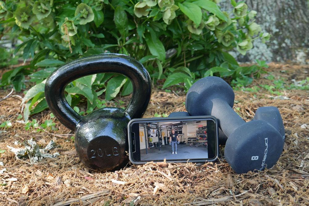 Outdoor Fitness Kettlebell Dumbells Phone Street Parking App