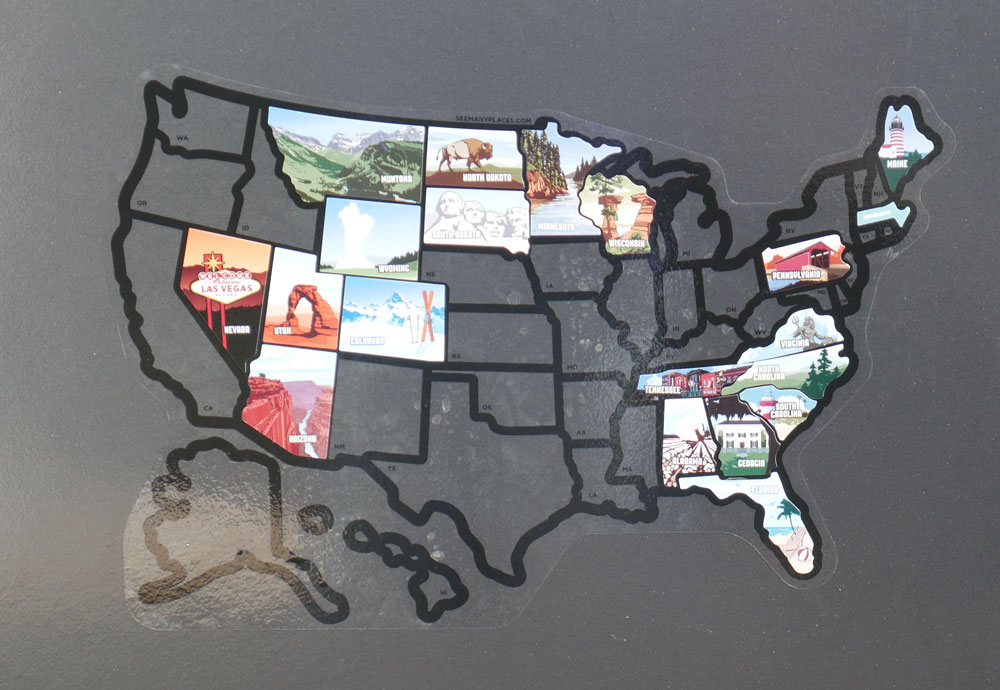 Our RV Visited States Map Sticker On Camper Door