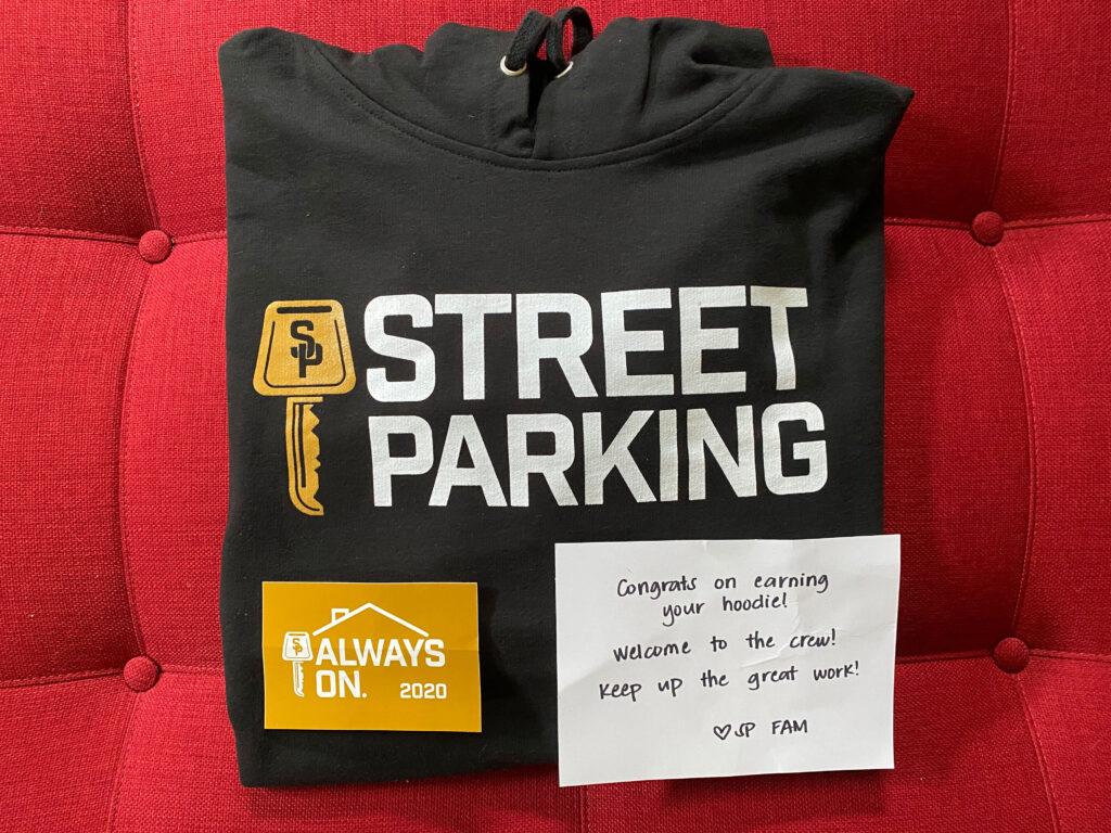 street parking sweatshirt sticker and note