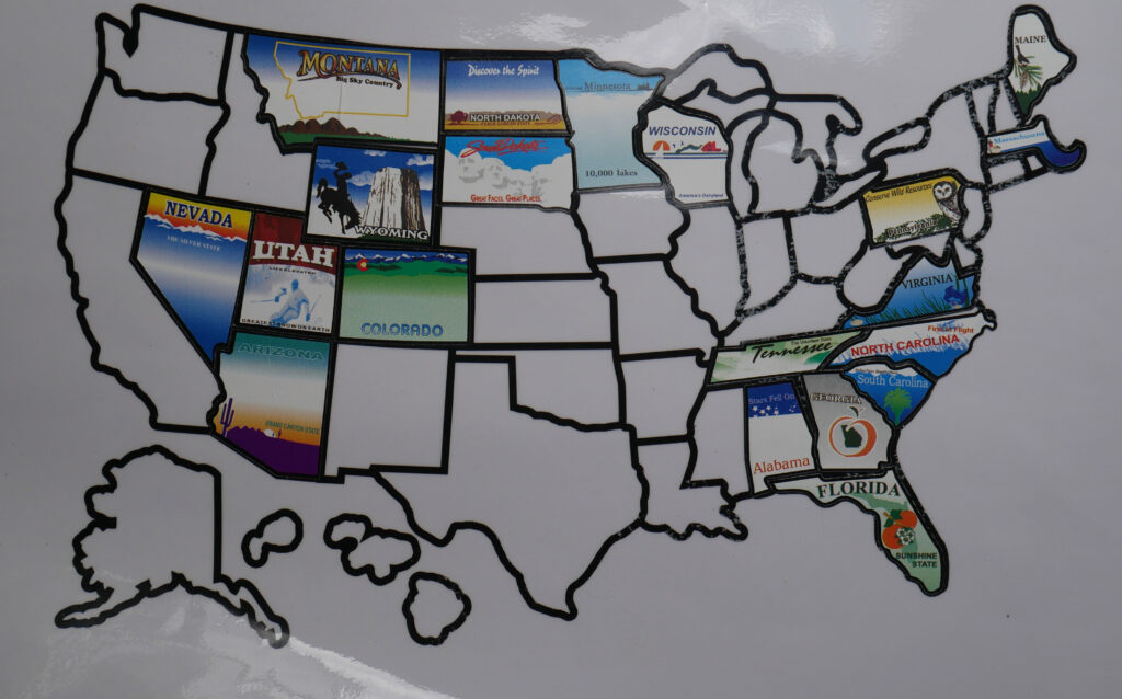 suction cup style visited states map in new condition
