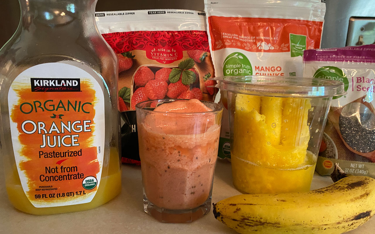 Mango Pineapple Strawberry Summer Smoothie Recipe Ingredients