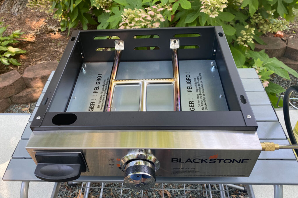 Blackstone griddle base with h-burner shown in Blackstone griddle review