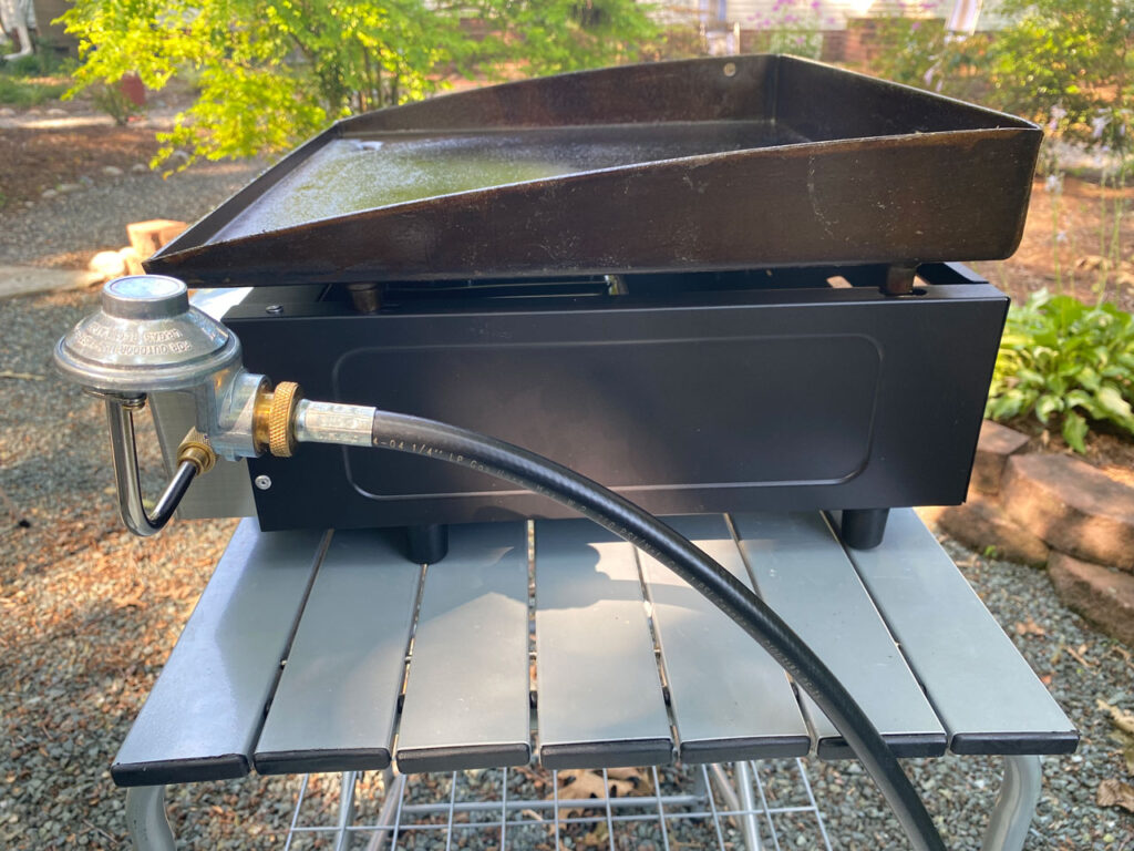 Blackstone Griddle shown with propane gas hose in Blackstone griddle review