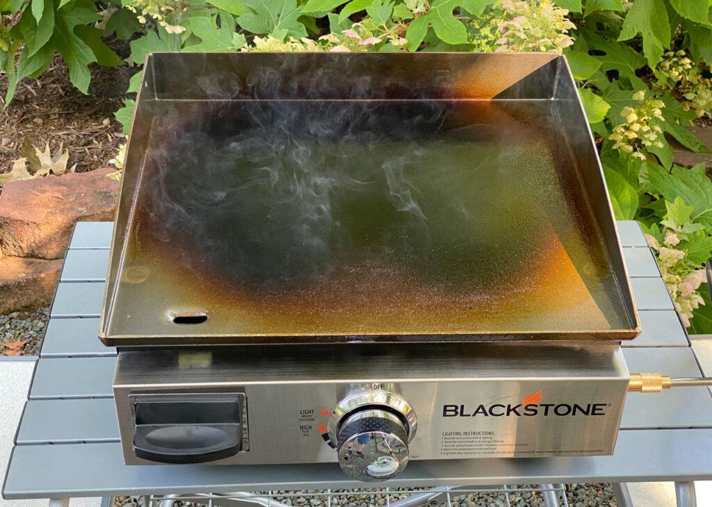blackstone griddle seasoning smoking