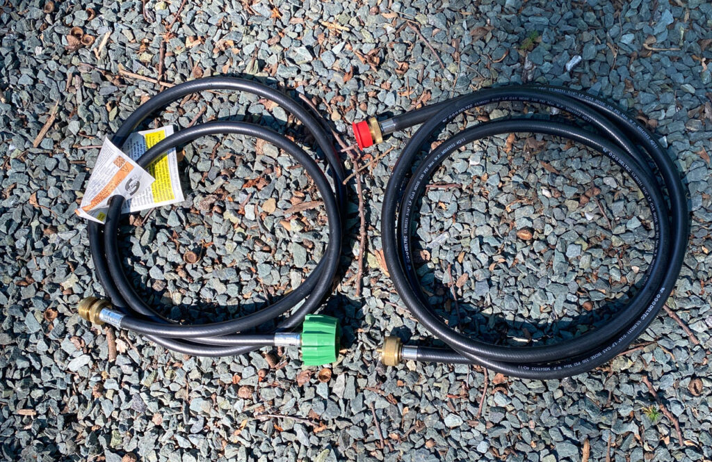 Two types of propane gas hose